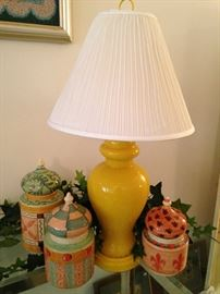 Colorful canisters from Horchow (made in Italy); yellow ginger jar lamp