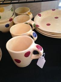 Polka dot bowls, cups, and dessert plates