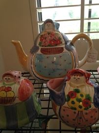 Horchow Pottery - teapot, creamer, and sugar