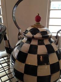 MacKenzie-Childs  2 quart courtly check enamel tea kettle