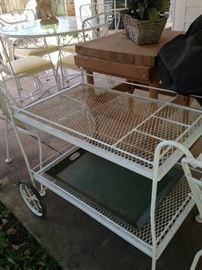 White patio cart