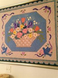 Framed hand-hooked rug