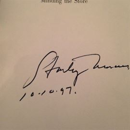 """Autographed copy of """"Minding the Store"""" by Stanley Marcus 10-10-97"""