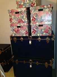 Some of the 8 available trunks; floral boxes for organizing