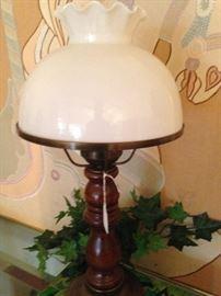 White globe/wood base lamp
