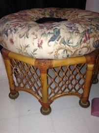 Rattan upholstered foot stool