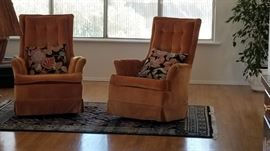 That's right!!ORANGE velvet rockers/swivel chairs. Will be 50% off Saturday
