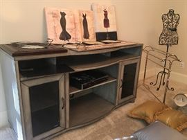 Gray with black wire insert entertainment center great for flat screen