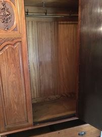 Very clean interior of Armoire