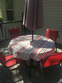 Patio table/chairs; umbrella