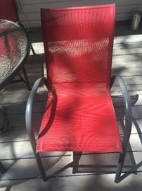 Metal and mesh fabric patio chair