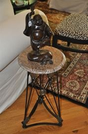 "13"" Iron and granite accent table, 25""h shown with bronze Happy Dancing Buddha"