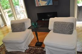 "Fantastic washable white chenille slipcovers on a pair of armless chairs. 30""w x 31""h x 36"" d"