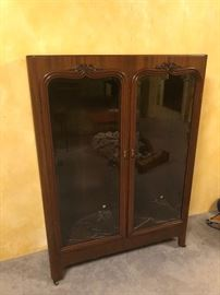 Antique China Cabinet with original glass shelves and lighting -  Very well cared for and in excellent condition