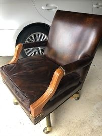 Antique leather swivel chair excellent condition
