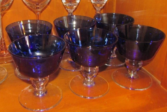 Cobalt blue and clear glassware