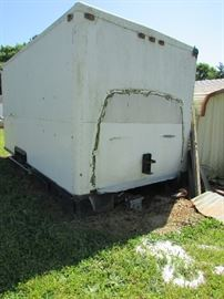Trailer used for storage, doesn't have wheels...it is for sale
