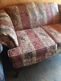 This would make a great project for the upholster in you. Very sturdy loveseat.