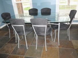 Glass & Metal table w/6 microfiber chairs