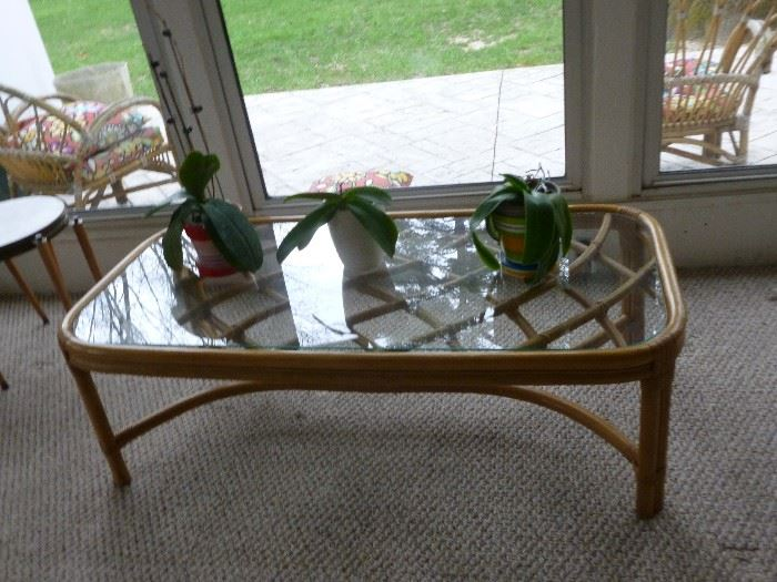 Rattan & Glass Table