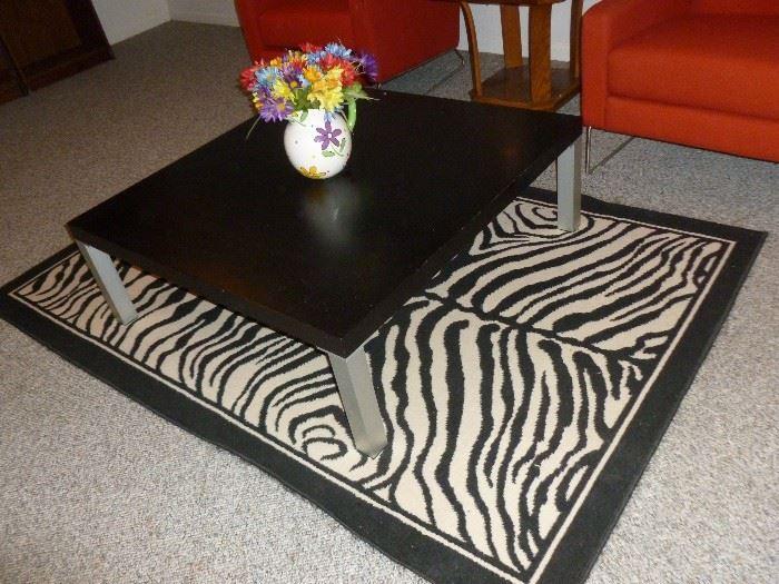 Contemporary Table w/Zebra Rug