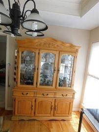 Light oak china cabinet