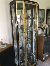 Glass and brass curio cabinets, 2