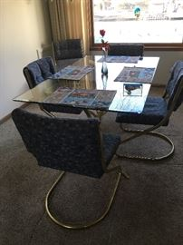 Rectangular glass table with 6 chairs