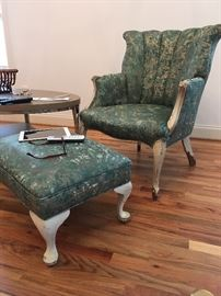 Custom Upholstered Arm Chair and Ottoman