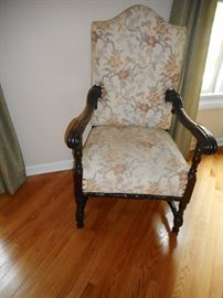 Vintage Hand Carved Mahogany Arm Chair