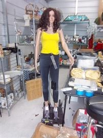 """This is """"Peyton"""" . She is a Robotic Sign Spinner Mannequin. Comes with extra motorized torso & Wigs"""
