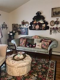 Vintage sofas, ottoman & rug & art & wall decor