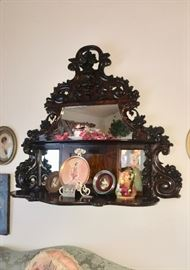 Carved wood shelving