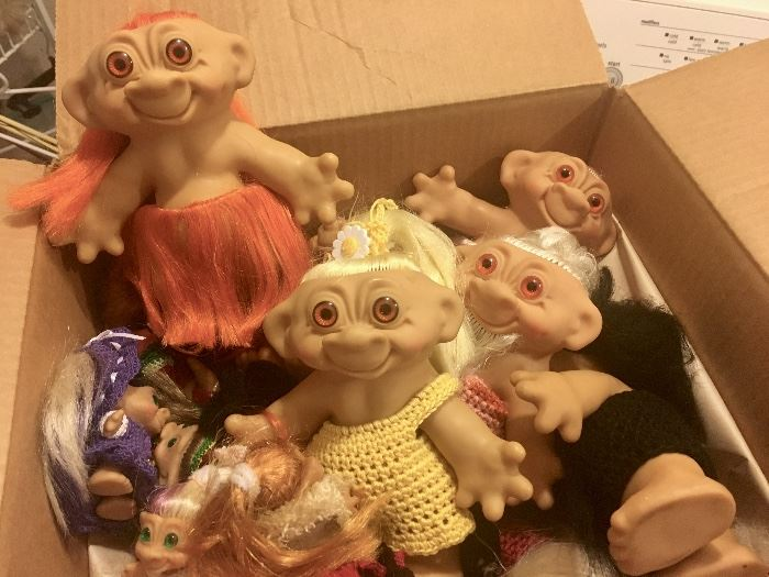 Two boxes of vintage Trolls dolls
