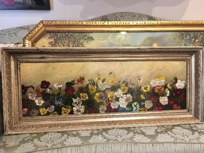 Antique oil painting of pansies