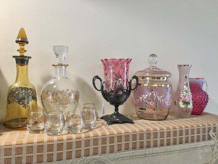 Ruby glass & decanters