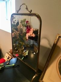 Old brass standing table top mirror