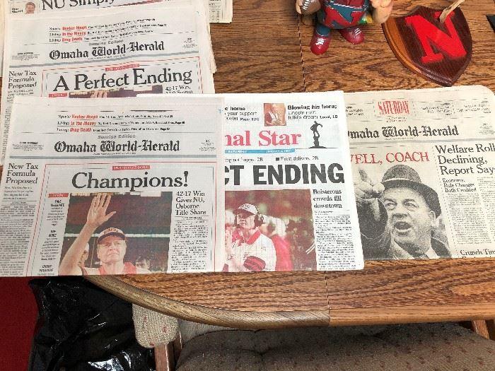 Vintage World Herald Husker Newspapers