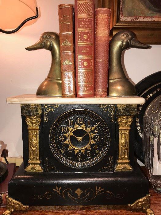 ANTIQUE CLOCK / BRASS DUCK BOOKENDS