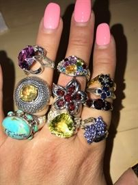 GORGEOUS STERLING SILVER GEMSTONE RINGS