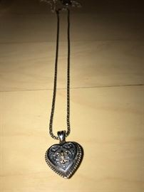 STERLING SILVER AND 14K GOLD FLEUR DE LIS HEART NECKLACE