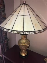 GOLD LAMP WITH GLASS SHADE