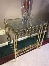 METAL BAMBOO AND GLASS NESTING TABLES