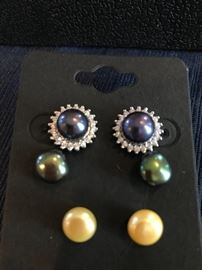 STERLING SILVER NATURAL PEARL INTERCHANGEABLE EARRINGS