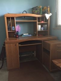 Desk / Computer Hutch with Built In File Cabinet