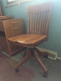 Antique Wooden Swivel Desk Chair w/Wheels