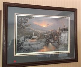 BEAUTIFUL Jesse Barnes Framed COA 10th Anniversary Christmas Print WINTER'S TWILIGHT SOLD