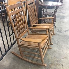 Two Cracker Barrel Rocking Chairs
