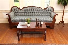 Empire sofa in excellent condition and British Colonial Style coffee table with carving.
