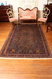 "Fabulous antique oriental rug in fine condition.  Size: 64"" by 116"""
